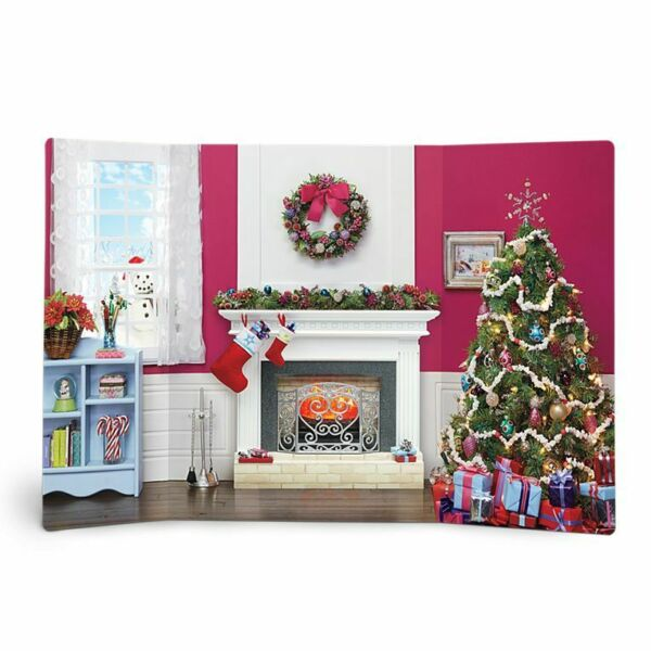 AMERICAN GIRL DOLL BRAND COZY CHRISTMAS TREE FIREPLACE DISPLAY SCENE BACKDROP