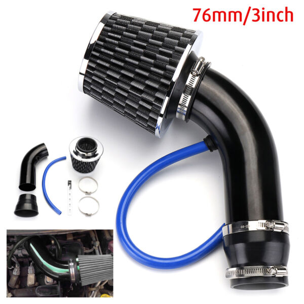 76mm 3'' Universal Car Cold Air Intake Filter + Alumimum Induction Set Pipe Hose