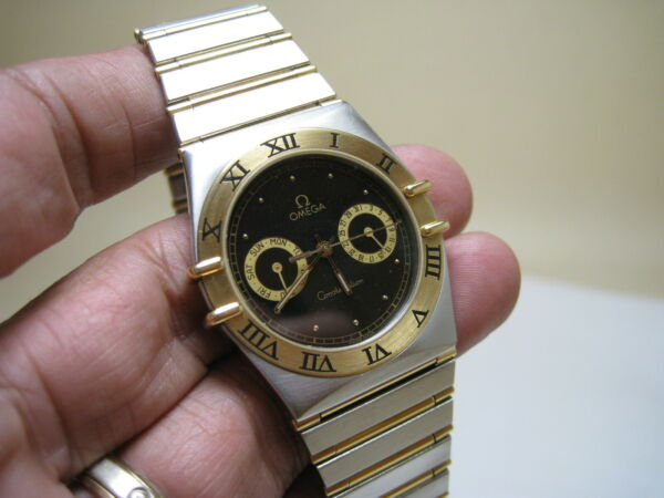 OMEGA  CONSTELLATION  DATE   DAY 18K GOLD QUARTZ STAINLESS STEEL FULL BAR WATCH
