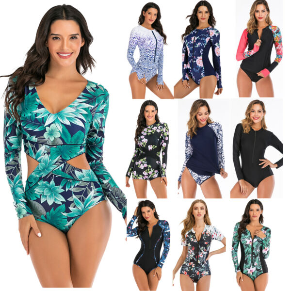 Women Long Sleeve Swimsuit One-Piece Rash Guard UV Protection Surfing Swimwear