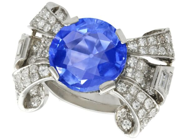 Antique 8.50ct Ceylon Sapphire and 1.95ct Diamond Platinum Cocktail Ring Size N