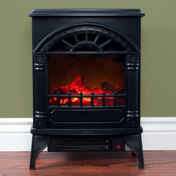 Electric Fireplace-Indoor Freestanding Space Heater Faux Log and Flame Effects