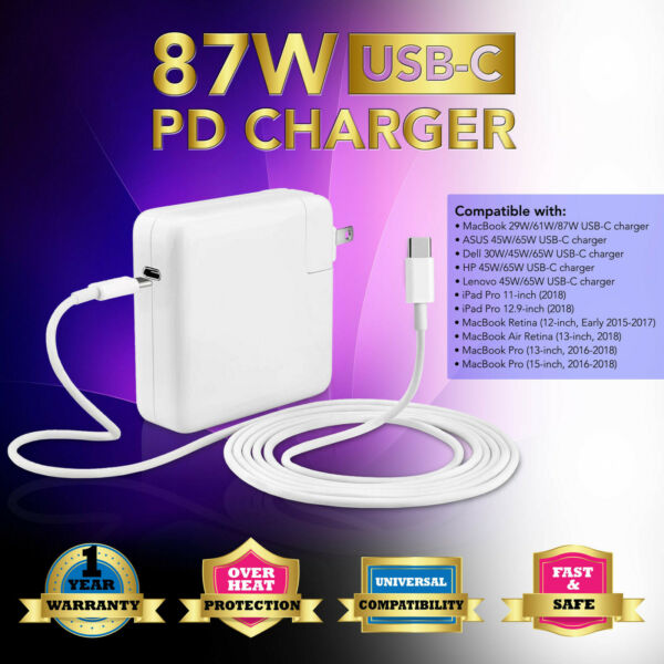 NEW 87W Type C USB Power Charger Adapter 2M USB-C Cable for Ap Macbook Pro 15