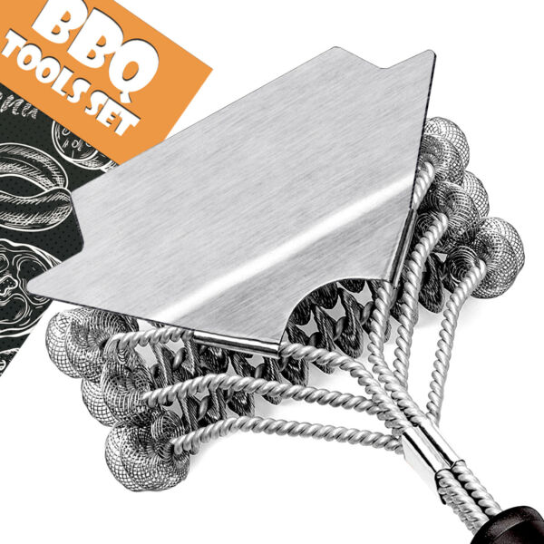 BBQ Bristle Free Grill Brush Food Grade Stainless Steel with Wide Metal Scraper