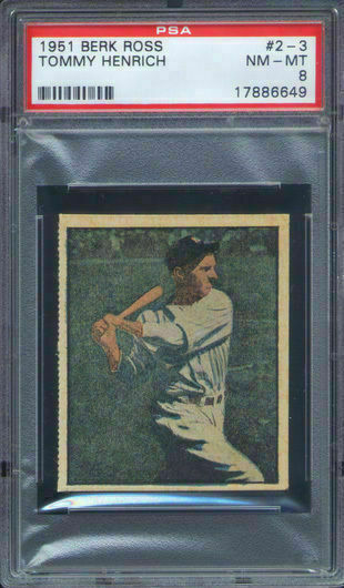 1951 Berk Ross #2-3 Tommy Henrich PSA 8 New York Yankees