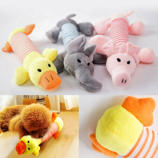 3PCS Cute Soft Pet Puppy Chew Play Squeaker Squeaky Plush Sound For Dog Toys US