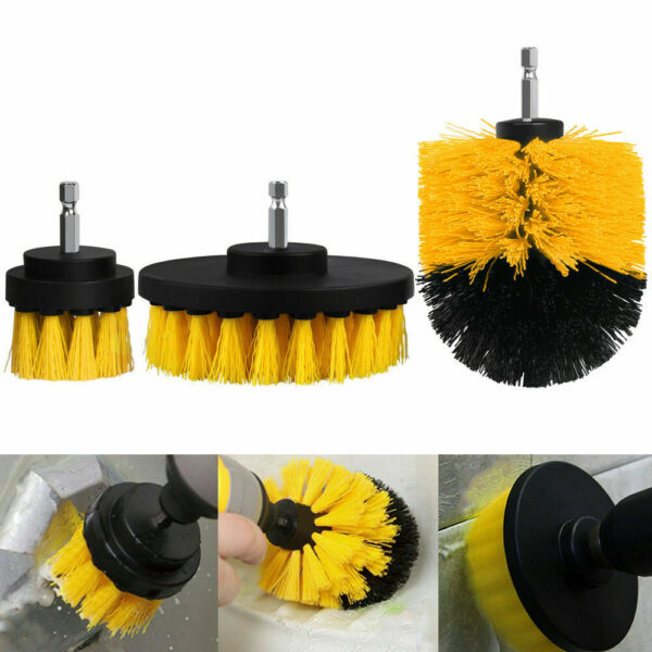 3PCS drill brush for Car Carpet wall and Tile cleaning MEDIUM DUTY(Red) NEW