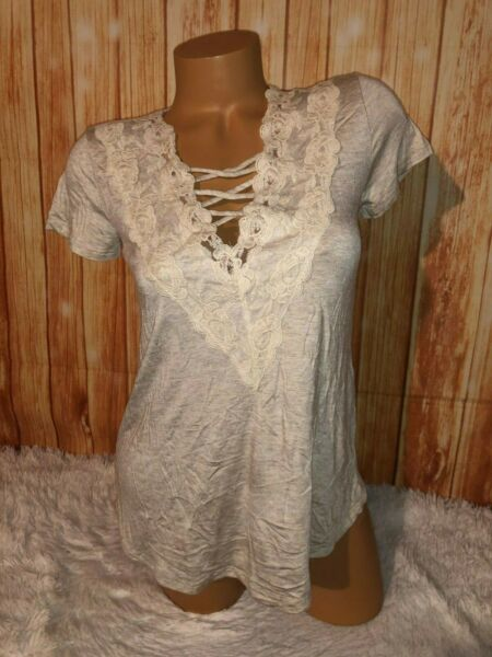 Women's Maurices beige lace accent short sleeve xs loose fit NWT shirt