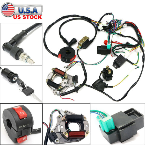 50cc 125cc CDI Wire Harness Stator Assembly Wiring Kit ATV Electric Quad $32.99