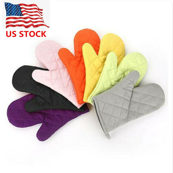 1PC Oven Mitts Heat Proof Gloves Pot Holders Kitchen Cooking Protector Non-slip