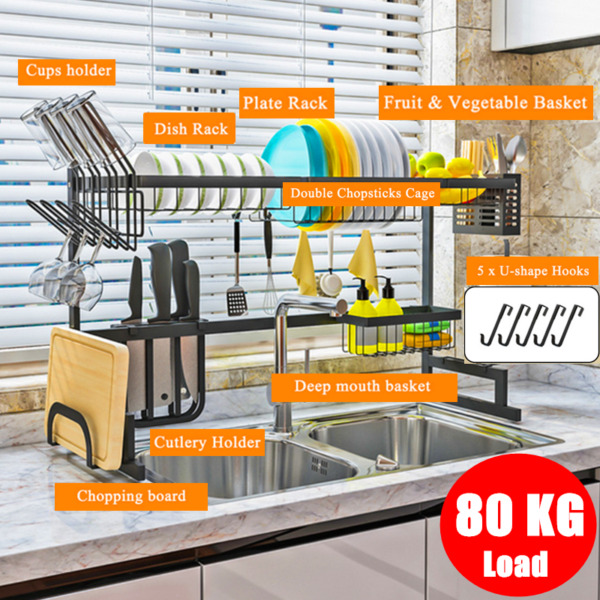 Stainless Steel Dish Drying Rack Over The Sink Kitchen Shelf Cutlery Holder US