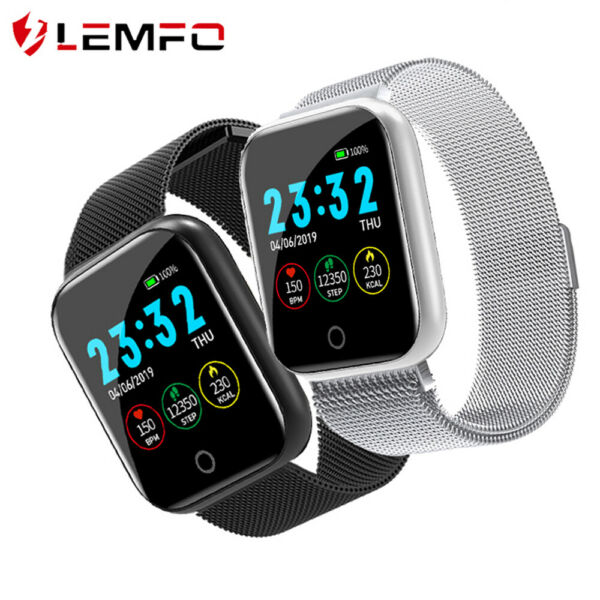 LEMFO Men Women Smart Watch Blood Oxygen Pressure Heart Rate Sports Smartband