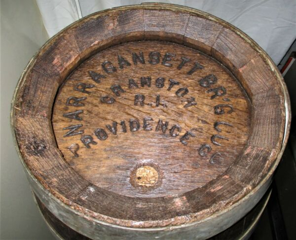 #2 ANTIQUE PROHIBITION NARRAGANSETT RI BEER BREWERY BAR WOOD KEG BARREL ART SIGN