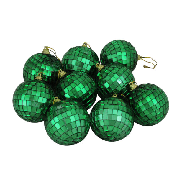 Northlight 9ct Green Mirrored Glass Disco Ball Christmas Ornaments 2.5