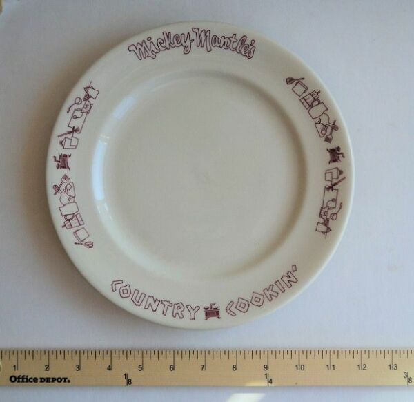 1960's Mickey Mantle Plate Country Cookin Restaurant - FLASH SALE