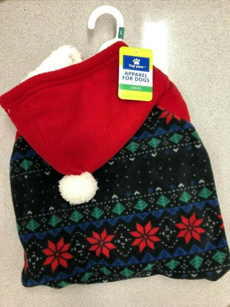 Top Paw Brand Pet Dog Snow Flake Fleece Sweater with Hood For Large Dog $12.00