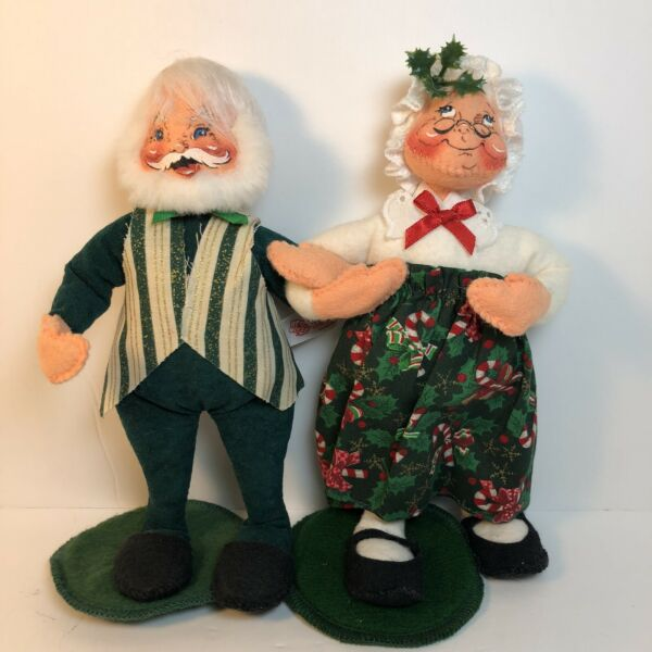 Annalee Mr. & Mrs. Santa Claus Christmas Posable Doll Set By Mobilitee 1999 USA