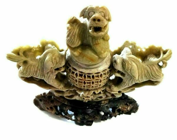 Vintage Antique Chinese Art Foo Fu Lion Dogs Finely Carved Marble $121.45