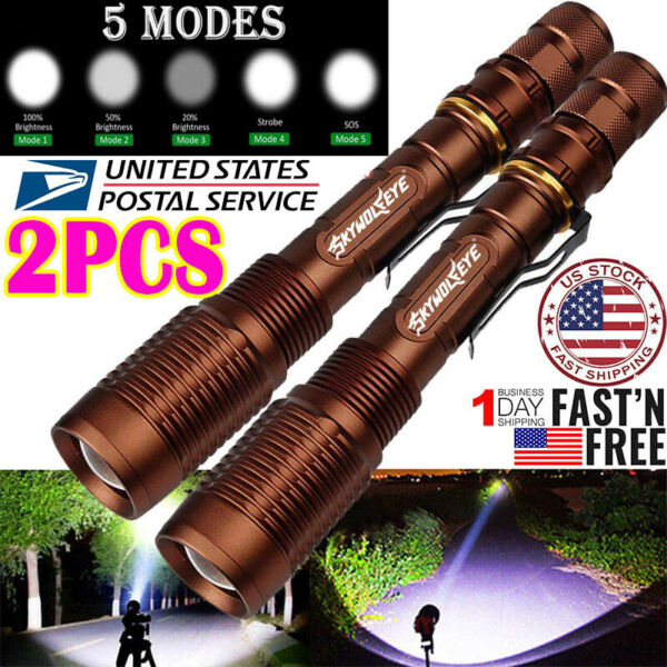 2Pcs Tactical Police 350000LM T6 LED 5Mode 18650 Flashlight Focus Zoomable Torch