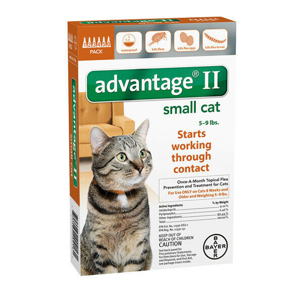 Advantage II for Small Cats 5-9 lbs - 6 Pack - EPA Approved  FREE Shipping!