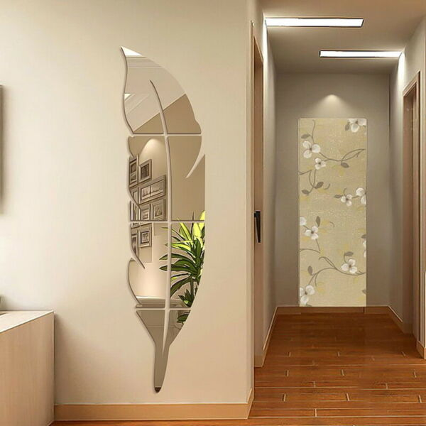 DIY Removable Feather Mirror Wall Sticker Art Decal Room Home Decoration A1645