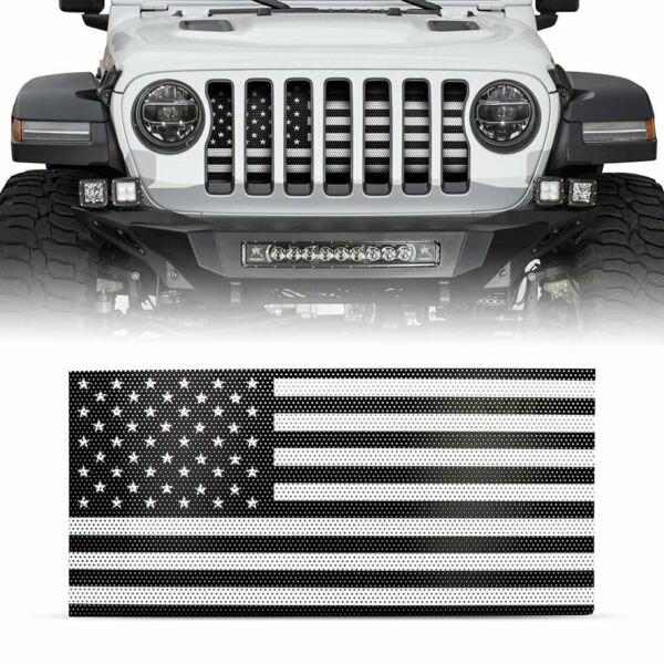 Front Grille Mesh Insert Grill American Flag For Jeep Wrangler JL JLU 2018 2019