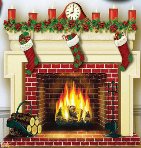 CHRISTMAS FIREPLACE mantel Scene Setter holiday hearth party wall photo BACKDROP