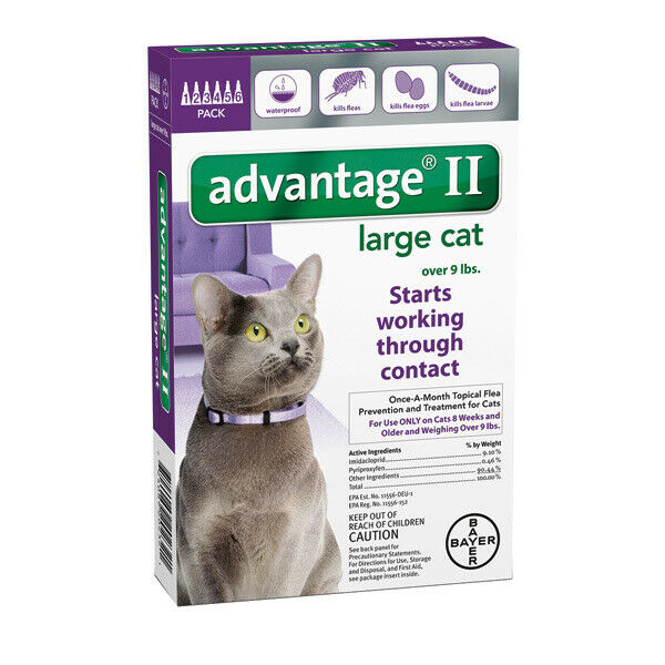 Bayer Advantage II for Cats Over 9 lbs - 6 Pack - NEW