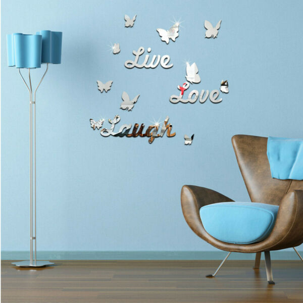3D Removable Mirror Wall Sticker Love Butterfly Wall Decals Romantic Home Decor $7.49
