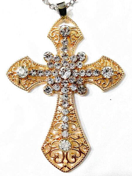 1pcs fashion gold plated Crystal cross necklace Free shipping !