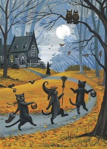 ACEO PRINT OF PAINTING BLACK CAT WITCH HALLOWEEN AUTUMN FOLK ART HAUNTED HOUSE