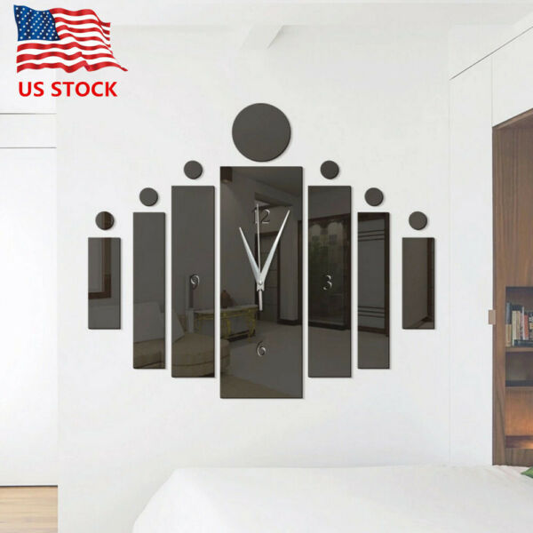 Creative Clock 3D Mirror Wall Sticker Wall Art Decals Removable Home Decor