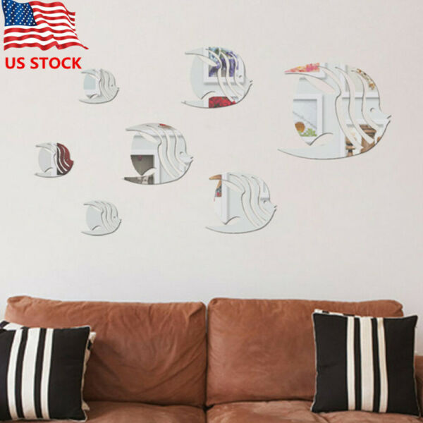 Modern Fish 3D Mirror Wall Sticker Removable Acrylic Wall Decals Home Decor US $6.99