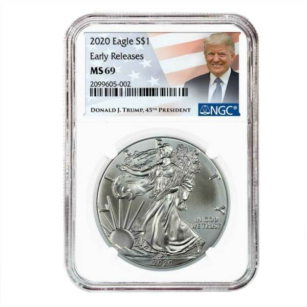 2020 $1 American Silver Eagle NGC MS69 ER Trump Label