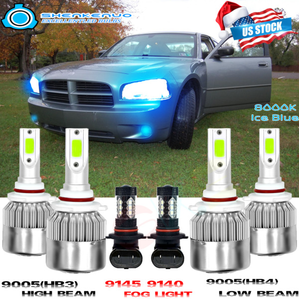 For 2006-2009 Dodge Charger LED 9005+9006 Headlight Bulbs+ 9145 Fog lights Blue