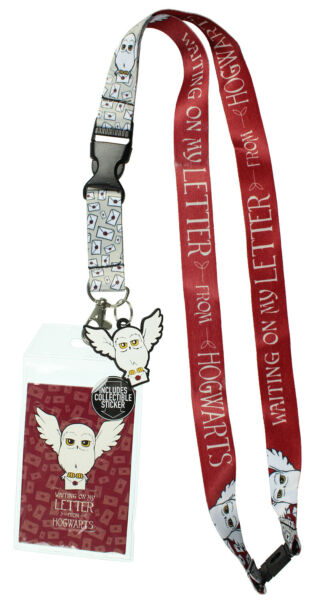 Harry Potter Hedwig ID Lanyard Badge Holder With 1.5quot; Hedwig Charm Pendant