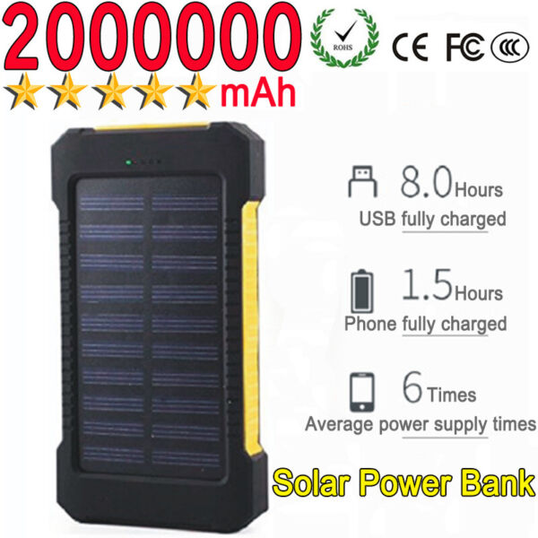 2000000mAh Emergency Light Solar Power Bank Waterproof Portable Battery Charger