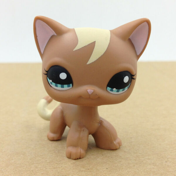 Pet Shop #1170 LPS Brown Siamese Curl Hair Cat Kitty Doll Collection Toy Child