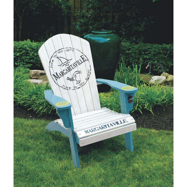 Margaritaville Painted Wood Adirondack Chair - Fins To The Left