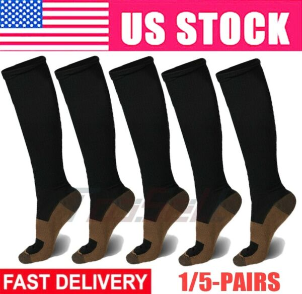 5 Pairs Copper Fit Energy Knee High Compression Socks Pain Relief SM LXL XXL US