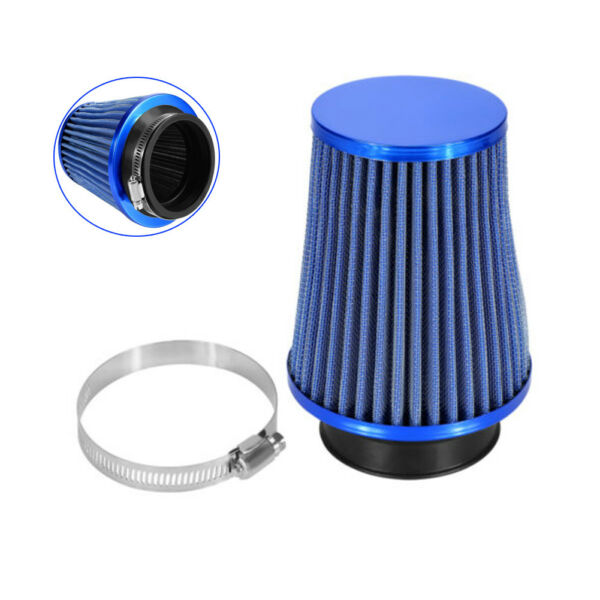 Blue Car High Flow Cold Air Filter Intake Induction Kit Dry Type Mesh Cone 3''