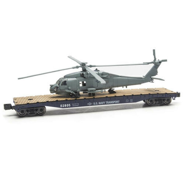 O GAUGE US NAVY MILITARY FLATCARs WITH HELICOPTER LIONEL MENARDS $58.00