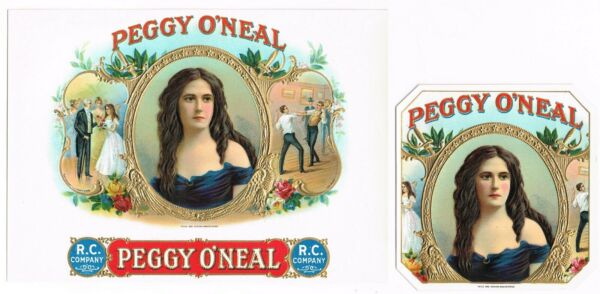 ORIGINAL CIGAR BOX LABEL VINTAGE PAIR 1910 PEGGY O'NEAL IN OUT FENCING IRISH