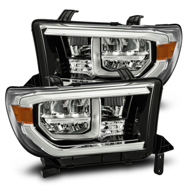 For 07-13 Toyota Tundra Sequoia Polished Black Full LED Headlights Pair