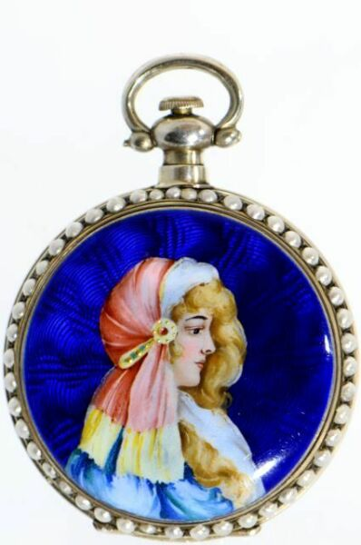 A RARE DECORATIVE PEARL-SET ENAMEL POCKET WATCH FOR CHINESE MARKET AROUND 1860