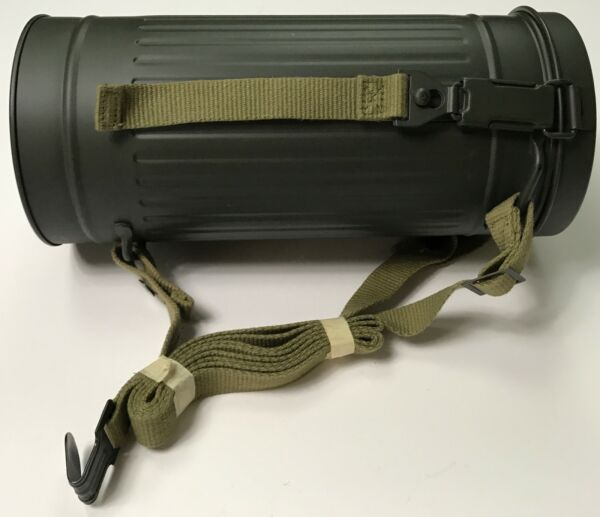 WWII GERMAN M31 GAS MASK CARRY CANISTER WITH STRAPS