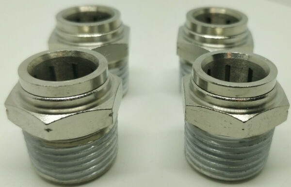 4 Air Ride System Fittings Straight 1 2 NPT Male To 1 2quot; Air Hose Push In Bags $30.59