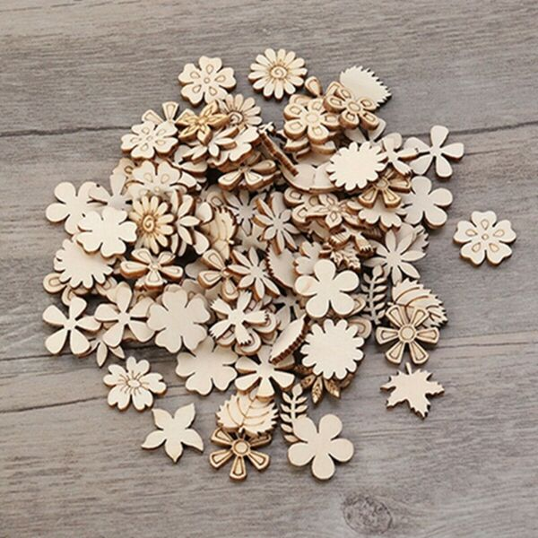 DIY Wood Chips Mixed Floret Leaves Shape Crafts Scrapbooking Decor Supplies S