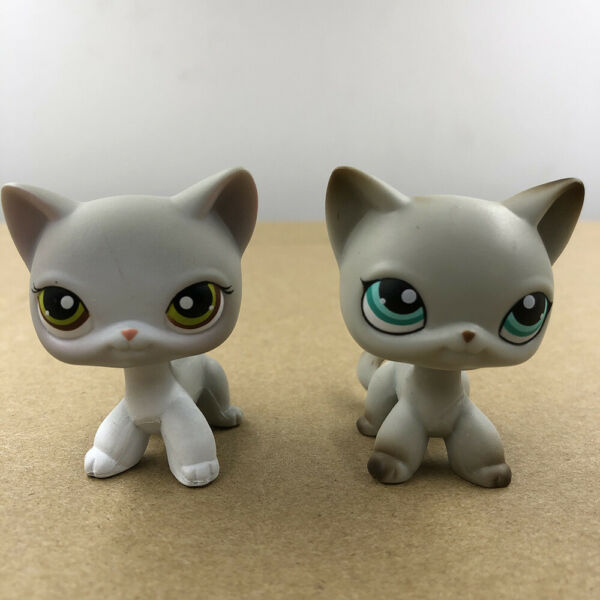 2x Pet Shop LPS #391 #138 Shorthair Cat Kitty Doll Cute Collection Gift For Kid