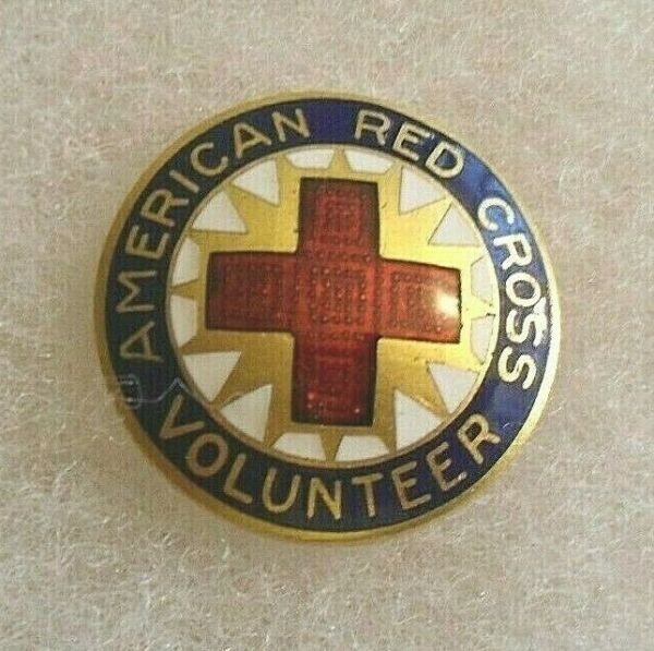 WWII RED CROSS MOTOR CORPS PIN PB FROM 70 YEAR COLLECTION 7 8quot; DIAM $18.00